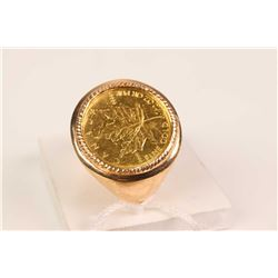 Gent's 14kt yellow gold ring with bezel set Canadian 1/10 oz .999 pure gold coin