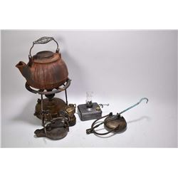Selection of vintage mining lamps including Adams & Westlake plus a Swedish made portable stove and