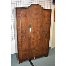 Large matched grain English walnut single door wardrobe, appears to be original finish and hardware