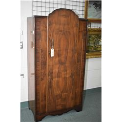 Small matched grain English walnut single door wardrobe, appears to be original finish and hardware