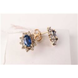 Ladies 10kt yellow gold, sapphire and diamond cluster earrings