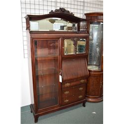 Antique mahogany side by side bookcase/drop front secretaire with fitted interior, bevelled mirrored