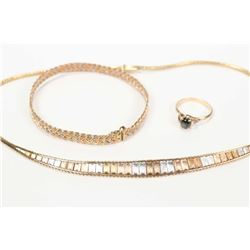 "Selection of 14kt jewellery including 16"" graduated tri-gold necklace, a woven tri-gold bracelet and"