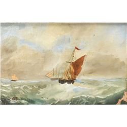 Antique gilt framed original oil on canvas painting of a tall ship in white water, no artist signatu