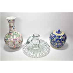 """Two pieces of hand painted Oriental porcelain including a dragon motif baluster vase 16"""" in height a"""