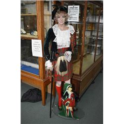 """Vintage Export """"A"""" Cigarette counter top display card plus full sized mannequin dressed to match"""