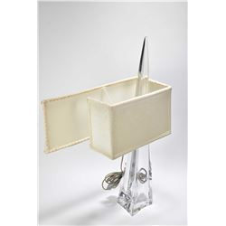 """Artist signed art glass table lamp with fabric rectangular shade, note shade mounting seems off, 21"""""""