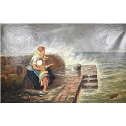 Heavy gilt framed antique oil on canvas painting of figures waiting for a ship, signed by artist J.H