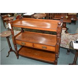Antique mahogany three tier server with two drawers, appears to be original finish and hardware