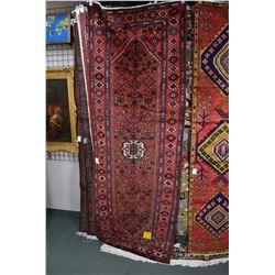 100% wool Zanjan carpet/runner with center medallion, overall geometric design in soft red backgroun