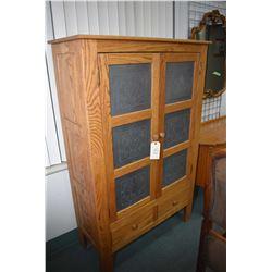 Modern two door pie cabinet with pierced galvanized metal ventilation on double doors plus two drawe