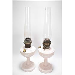 Two matching Lincoln drape Aladdin lamps with chimneys