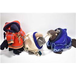 """Three wool Inuit art dolls including Packing Raven by artisan Eeteemungi, Spence Bay, 12"""" in height,"""
