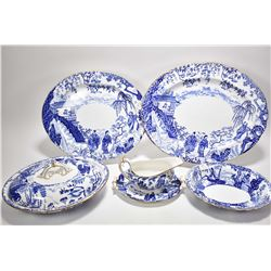 """Selection of Royal Crown Derby """"Mikado"""" serving pieces including 15"""" platter, 12"""" platter, gravy boa"""