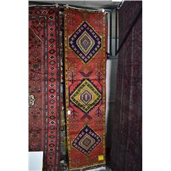 100% Iranian wool Azarbijan carpet runner with triple medallion, red background, stylized blossoms a