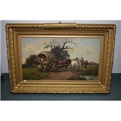 """Antique heavy gilt framed oil on canvas painting labelled on verso """"Hungarian Gypsies"""" by artist H.P"""