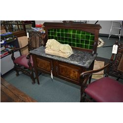Antique two door wash stand with slate top and tiled backboard