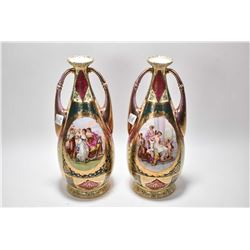 Pair of antique Royal Vienna double handled vases with transferware and hand enhanced pictorial came