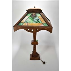"Antique Mission style quarter cut oak table lamp with four leaded slag glass panels, 30"" in height"