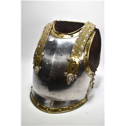 19th century British trooper's Cuirasse breast plate and back plate with keyhole suspension plates a
