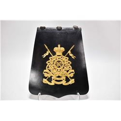 Rare Officer's sabretache of 16th Lancers, with gilt badge featuring crossed lances, crown and battl