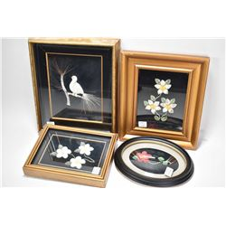 Four shadow box framed moose tufting including three florals and one bird on a perch