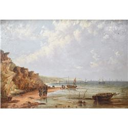 Heavy git framed antique oil on masonite painting of a coastal scene, no artist signature seen, 19""