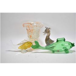Selection of vintage art glass including two fish with Alta glass paper labels, unmarked bird and a