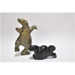 "Two hand carved soapstone figures including Dancing bear 8 1/4"" in height and a seal signed G. Arloo"