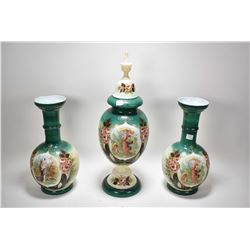 "Three pieces of unmarked antique bristol glass, transferware and hand painted including a 22"" high l"