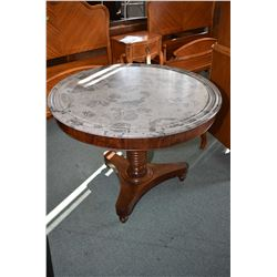 "Antique center pedestal mahogany marble topped 40"" diameter breakfast table, see attached note stati"