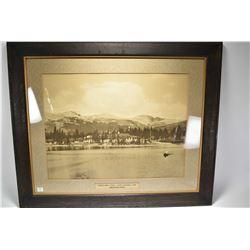"Antique oak framed Canadian National Railway promotional photo ""Jasper Park, Lodge"""