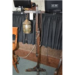 Antique English oak adjustable height ratcheting floor lamp