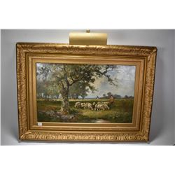 "Gilt frame antique oil on canvas painting labelled on verso ""Sheep Pasture by Hugo Fisher"", 16"" X 26"