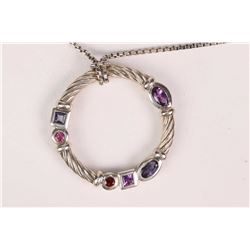David Yurman sterling silver Berry confetti pendant set with amethyst, iolite, pink tourmaline and g