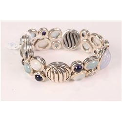 David Yurman sterling silver and gemstone mosaic bracelet set with 0.14ct of pave diamonds, moonston