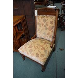 Pair of antique his and hers parlour chairs with carved backs, upholstered back and seats, turned su