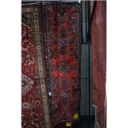 100% wool Iranian Mehravam runner/carpet with floral medallions, red background, accent colours incl