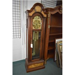 Circa 1980, German made three train chiming long cased clock with brass dial, second sweep, chime se
