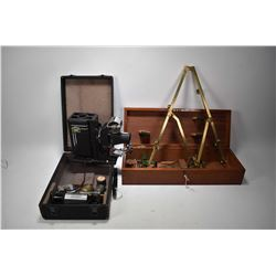 Vintage brass Pantograph in original fitted mahogany case with lock and key made by Joseph Halben &