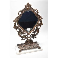 Quality cast Nouveau style bevelled vanity mirror with angel figures, Bacchus head etc. on marble ba