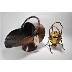 Antique brass spirit kettle made by Muster Gesetzl Gesch with original burner and an antique hand ha