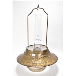 Aladdin brand hanging oil lamp with chimney and metal diffuser