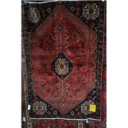 100% Iranian Shiraz wool carpet with center medallion, red background, geometric and stylized floral