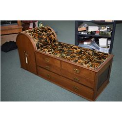 Antique quarter cut oak chaise with five drawers plus unusual large pull out, appears to be original