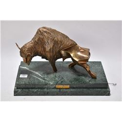"Bronze sculpture ""American Buffalo"" by John Muldey 1977 on marble 13 1/2"" wide base"