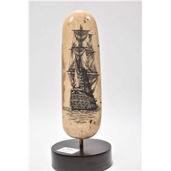 "Antique scrimshaw carving of a tall ship with full sails with artist signature, 6 1/2"" tall plus bas"
