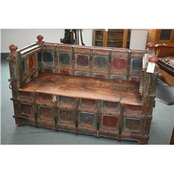 Antique, purportedly 19th century, large wooden bench with hand tooled hardware and flip top storage