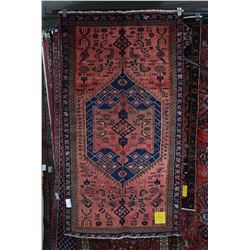 100% Iranian Zanjan wool carpet with center medallion, geometric patterns and stylized animals with
