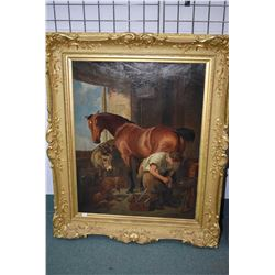 Antique heavy gilt framed oil on canvas painting of a farrier shoeing a horse by artist C. Fullwood,